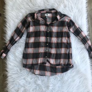 Girls Button Up Plaid Shirt